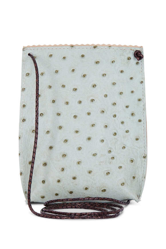 B May Bags Sage Embossed Ostrich Cell Pouch