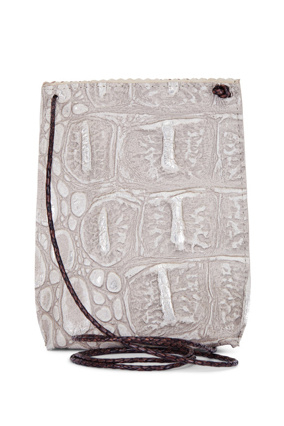 B May Bags Pearl Embossed Croc Cell Pouch