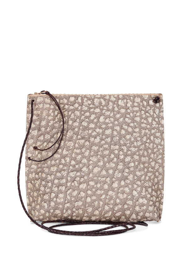 B May Bags Sesame Pebble Embossed Strappy Pouch Crossbody