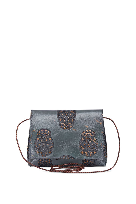 B May Bags Olive Skull Embossed Strappy Foldover Crossbody