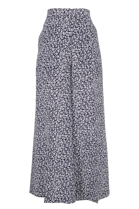 Michael Kors Collection Maritime & White Silk Floral Print Culottes