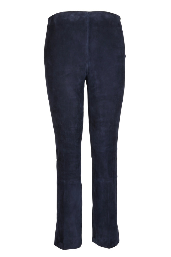 Vince Navy Blue Stretch Suede Cropped Pant