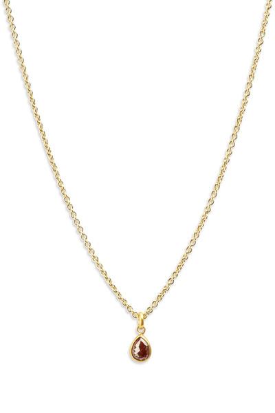 Caroline Ellen - Yellow Gold Red Diamond Pendant Necklace
