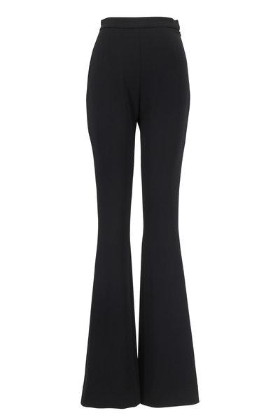 Olivine Gabbro - Black Double-Faced Wool Flared Leg Pant
