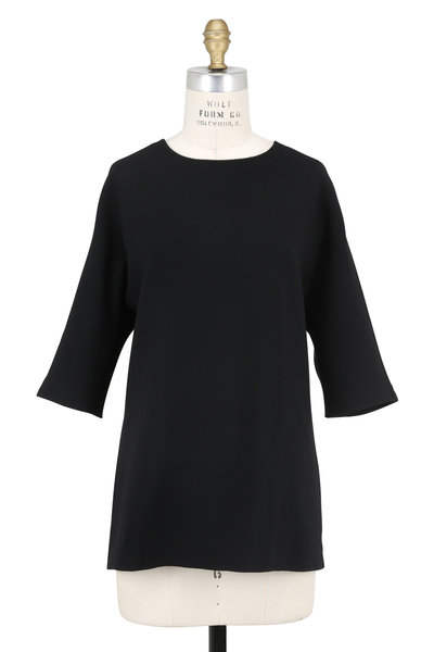 Olivine Gabbro - Black Double-Faced Wool & Satin Back Tunic