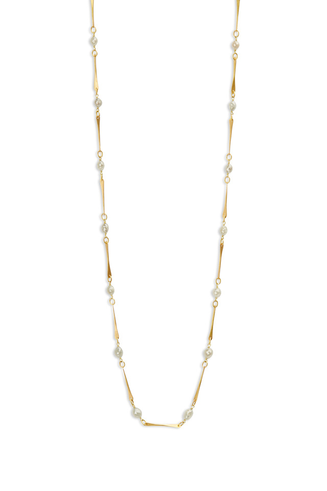 Yellow Gold Gray Diamonds Mini Link Necklace