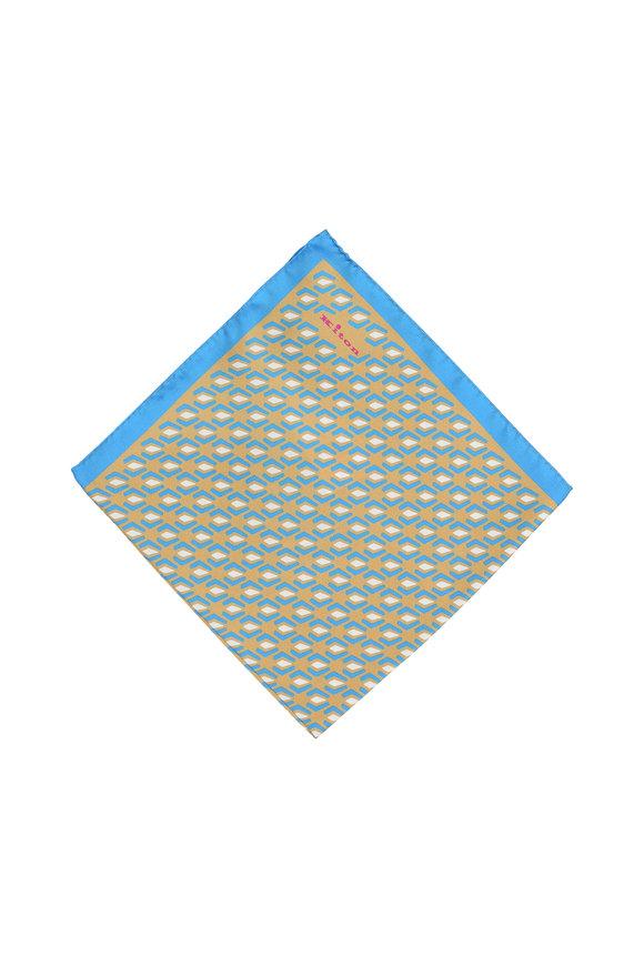 Kiton Brown & Blue Geometric Print Silk Pocket Square
