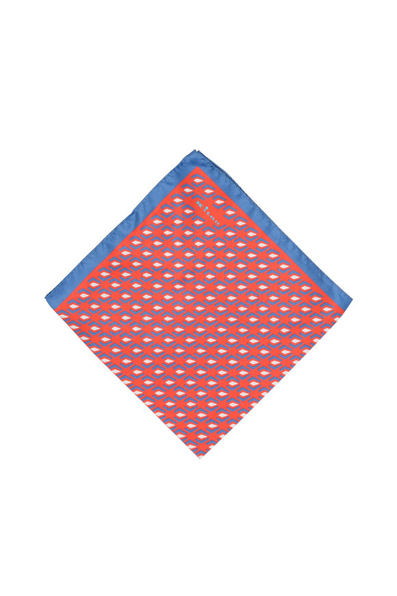 Kiton Red & Blue Geometric Print Silk Pocket Square