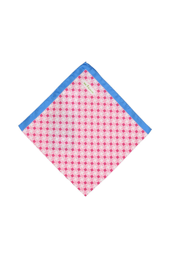 Kiton Pink & Blue Geometric Print Silk Pocket Square