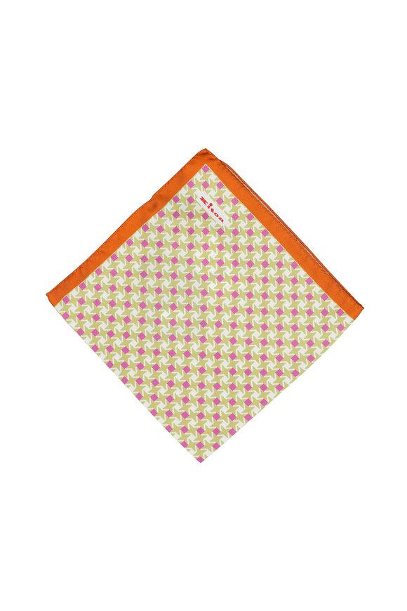 Kiton Green & Orange Geometric Print Silk Pocket Square