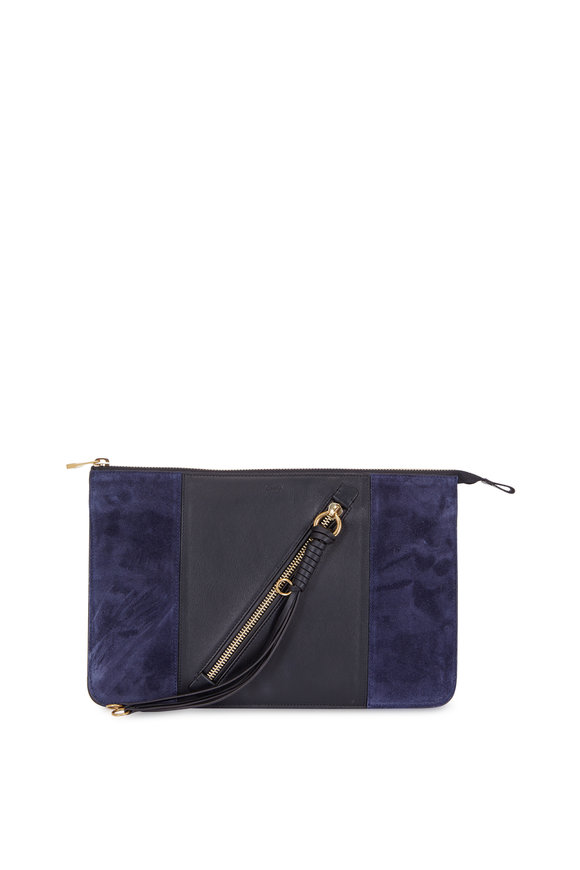 Chloé Myer Black Leather & Blue Suede Zip Pouch
