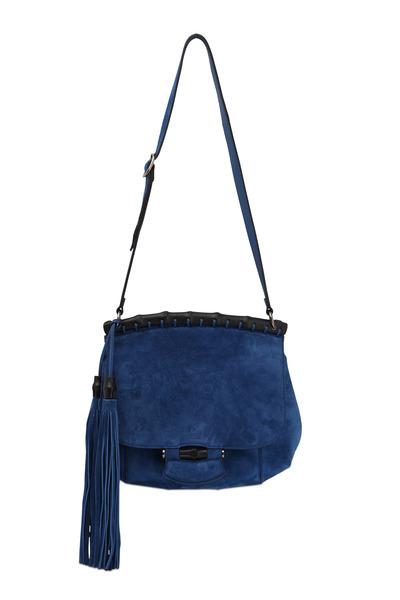 Gucci - Nouveau Cobalt Suede Medium Shoulder Bag