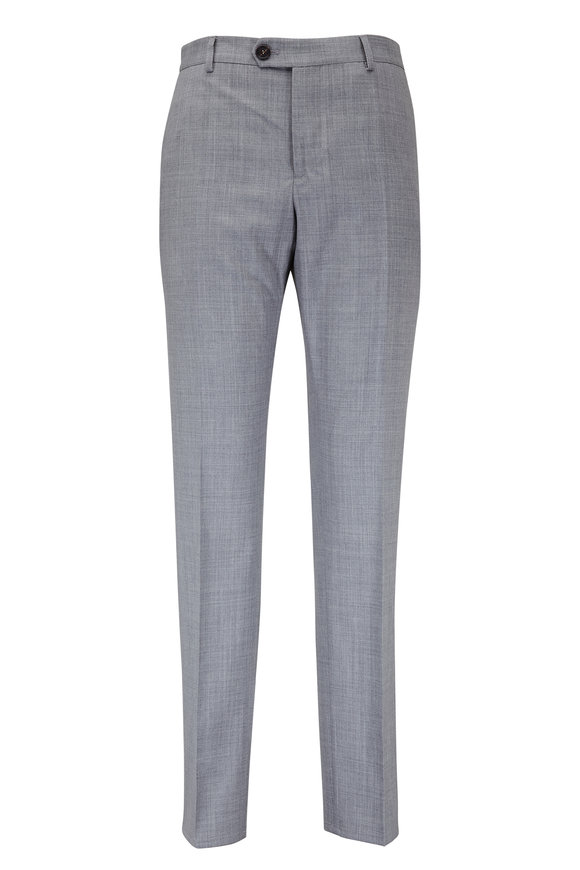 Brunello Cucinelli Gray Wool Flat Front Pant