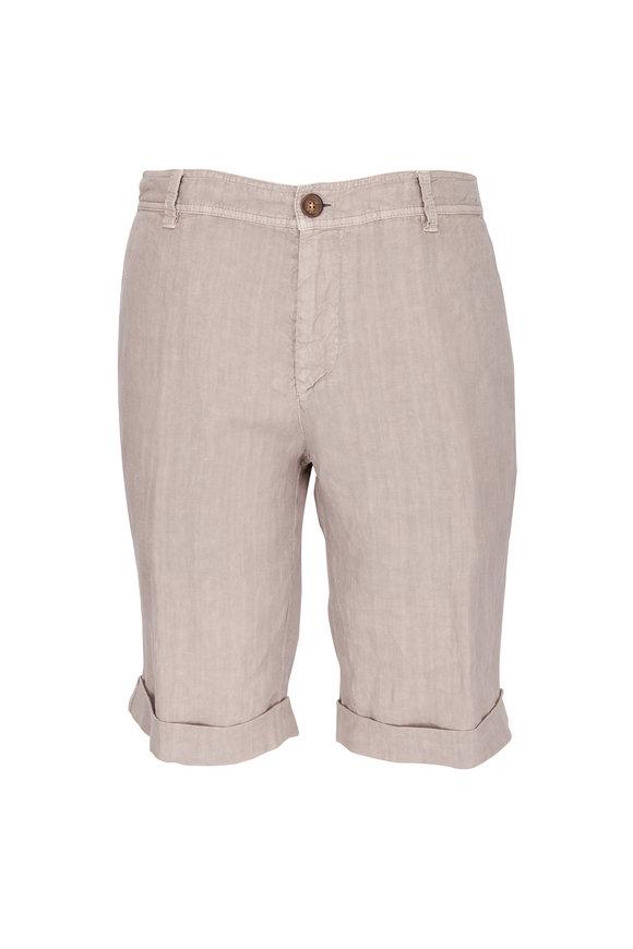 Brunello Cucinelli Light Brown Flat Front Linen Shorts