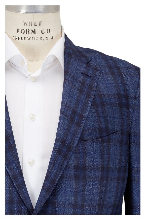 Luciano Barbera Navy Blue Plaid Wool & Silk Sportcoat