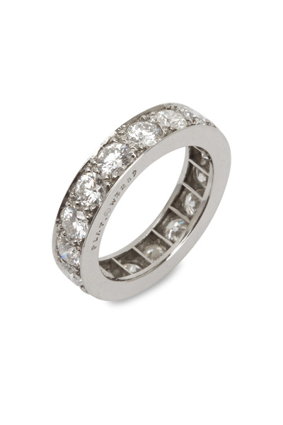 Oscar Heyman - White Diamond Beaded Set Guard Platinum Ring