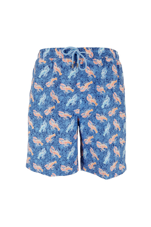 Peter Millar Atlantic Blue Seashell & Lobster Swim Trunks