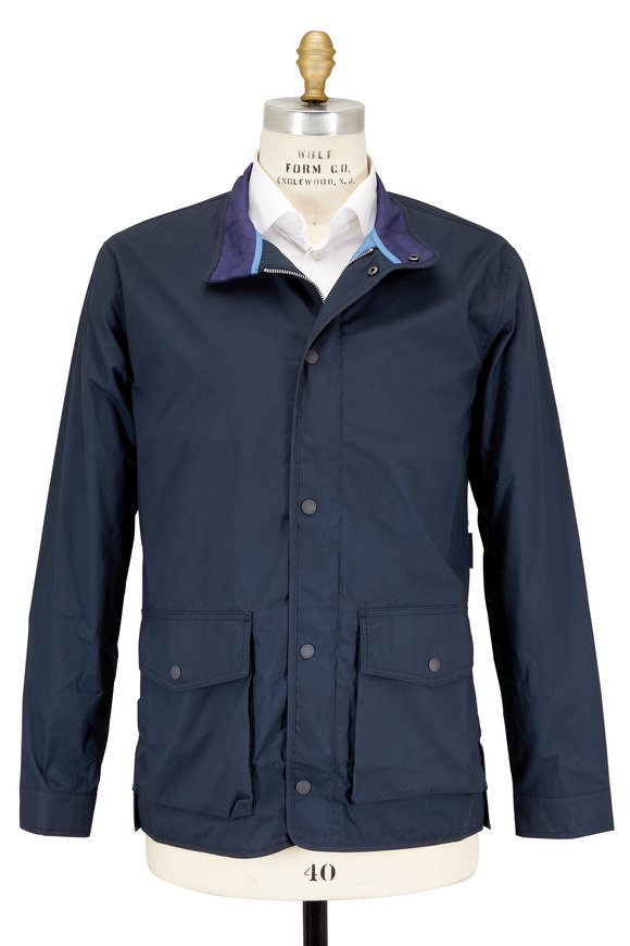 Peter Millar Harrison Navy Blue Waxed Cotton Jacket