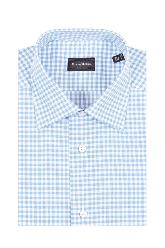 Ermenegildo Zegna Blue Gingham Dress Shirt