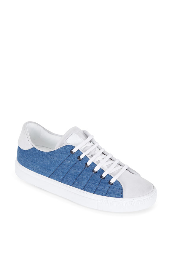 Eleventy Blue Quilted Denim & White Suede Sneaker