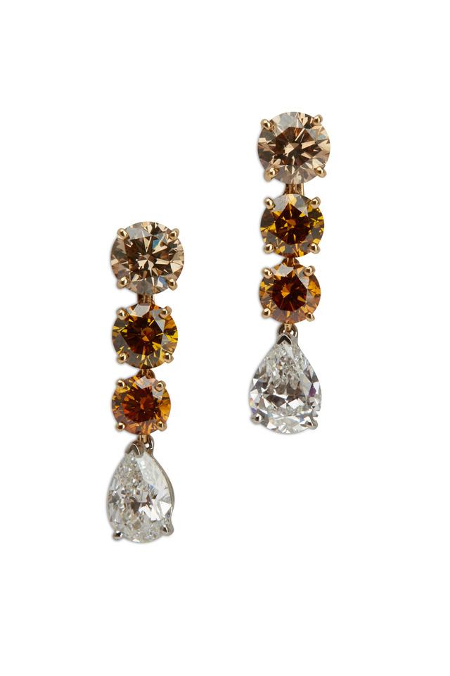 Platinum Yellow & White Diamond Dangle Earrings