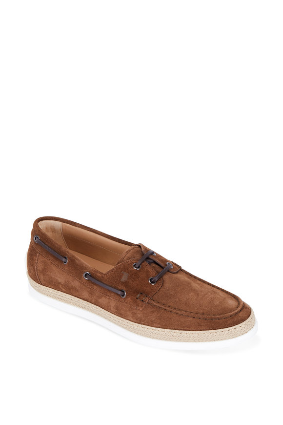 Tod's Brown Suede Espadrille Boat Shoe
