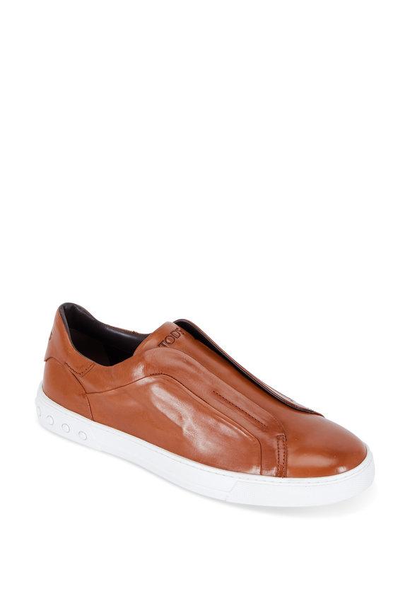 Tod's Cognac Leather Split Front Slip-On Sneaker