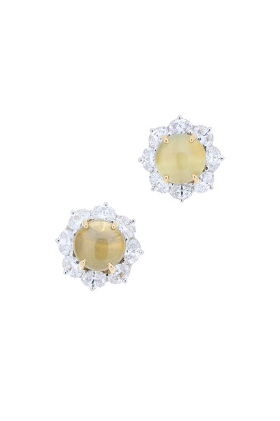 Oscar Heyman - Platinum Cats Eye Diamond Earrings