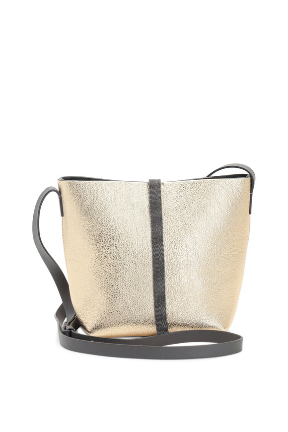 Brunello Cucinelli Gold Metallic Leather Bucket Crossbody