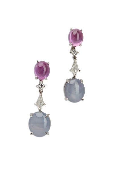 Oscar Heyman - Pink Sapphire & Pink Star Sapphire Drop Earrings