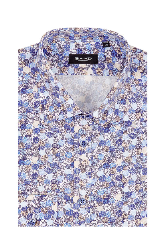 Sand Khaki & Blue Shell Printed Regular Fit Sport Shirt