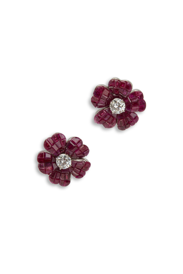 Platinum Ruby Diamond Flower Earrings