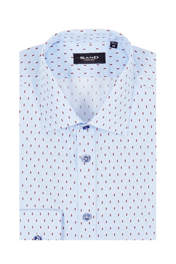 Sand Light Blue Bordeau Printed Regular Fit Sport Shirt