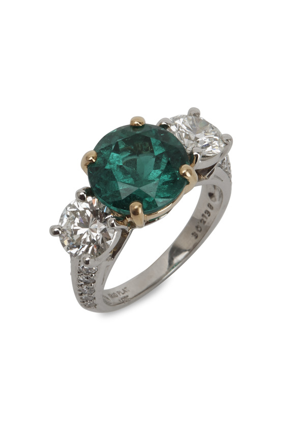 Oscar Heyman Platinum Emerald & Diamond Ring
