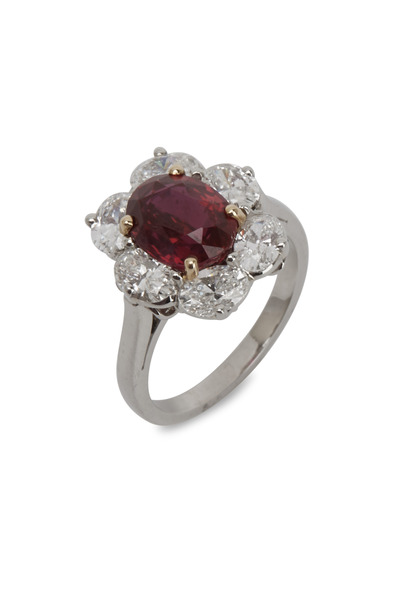 Oscar Heyman - Platinum Ruby White Diamond Ring