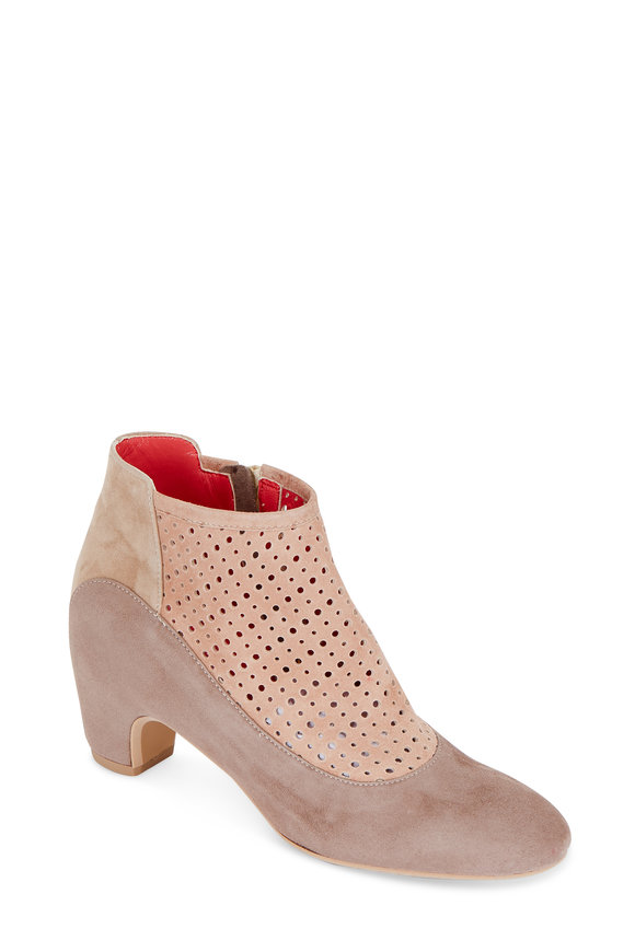 Pas de Rouge Angela Taupe Perforated Suede Ankle Boot, 60mm