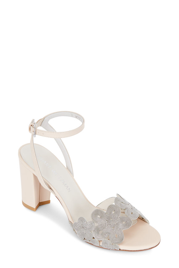 Stuart Weitzman Chainreaction Nude & Silver Swirls Sandal, 65mm