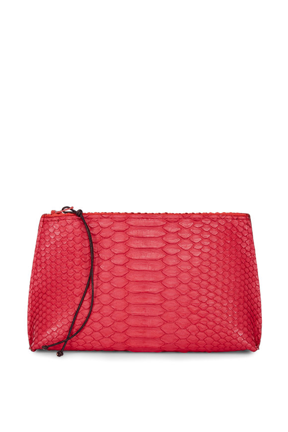 B May Bags Rose Python Embossed Lipstick Pouch