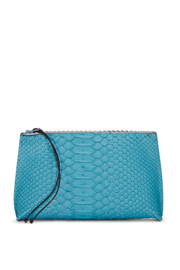 B May Bags Teal Python Embossed Lipstick Pouch