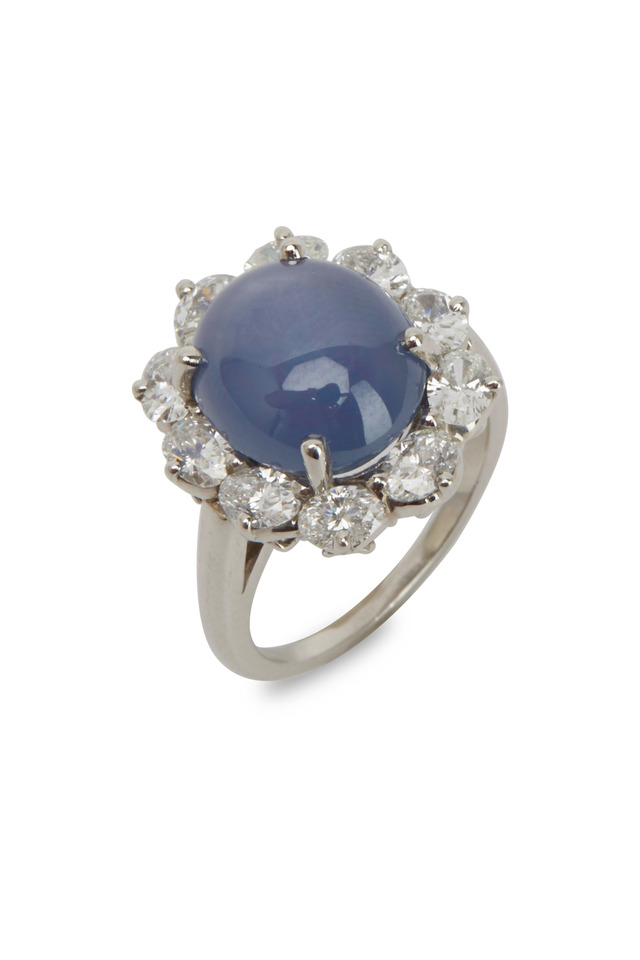 Platinum Sapphire Star White Diamond Ring