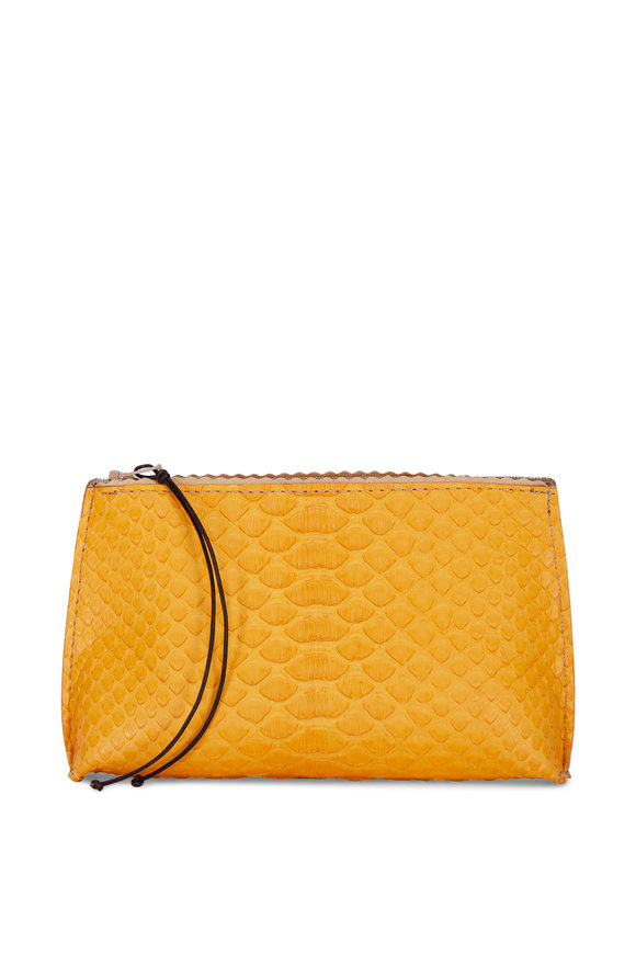 B May Bags Buttercup Python Embossed Lipstick Pouch