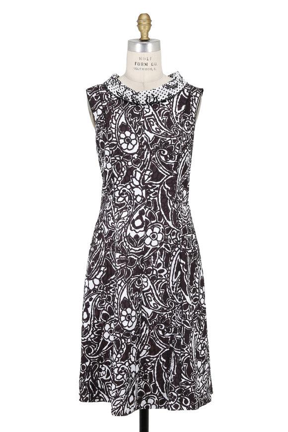 Oscar de la Renta Black & White Back Tie Sleeveless Dress