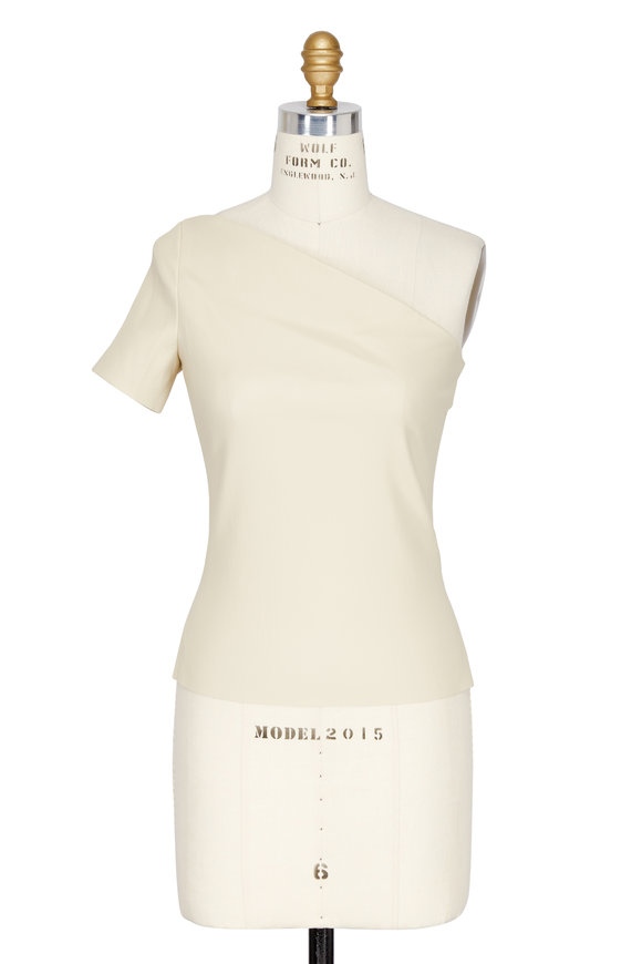 Helmut Lang Cream Stretch Leather One Shoulder Top