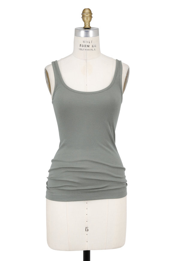 Vince Sage Green Ribbed Scoop Neck Tank