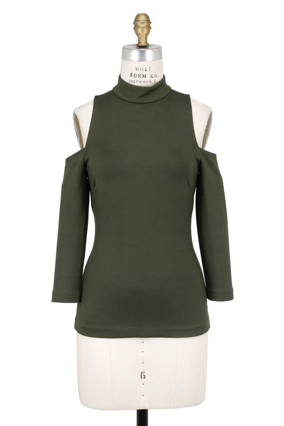 L'Agence Sasha Olive Cold Shoulder Top