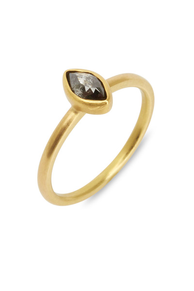 Caroline Ellen - 20K Yellow Gold Black Diamond Ring