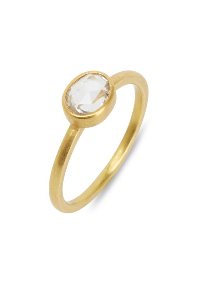 Yellow Gold White Sapphire Ring