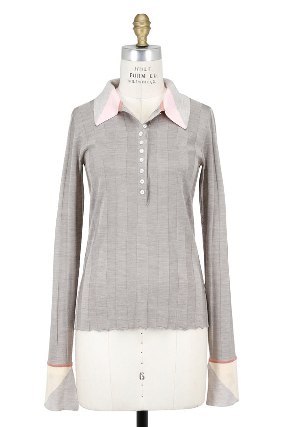 Jed Heather Rose Intarsia Trim Long Sleeve Polo
