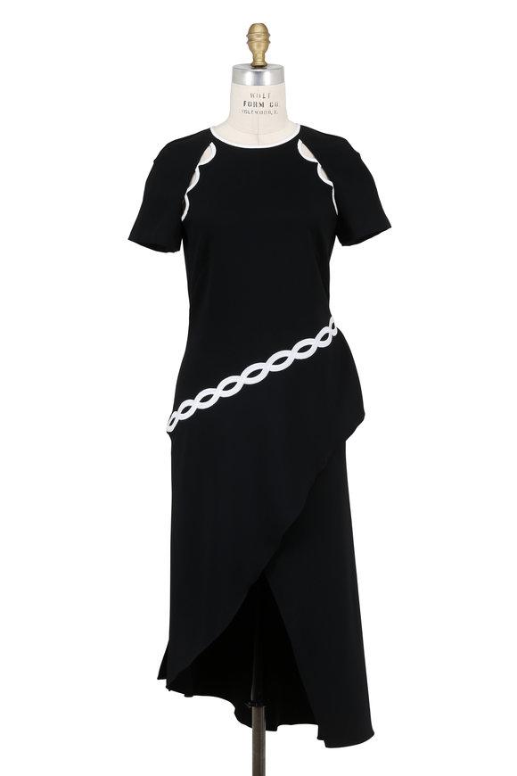 Jonathan Simkhai Black Rope Appliqué Asymmetric Short Sleeve Dress