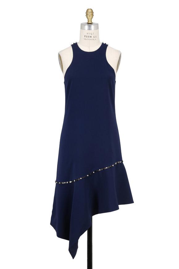 Jonathan Simkhai Navy Pearl Studded Asymmetric Sleeveless Dress